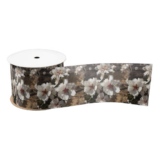White Almond Blossom Ribbon Satin Ribbon