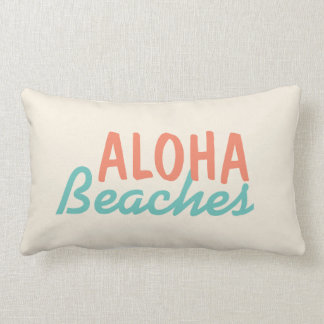 White Aloha Beaches Throw Pillow