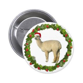 White Alpaca Christmas Wreath Pinback Buttons