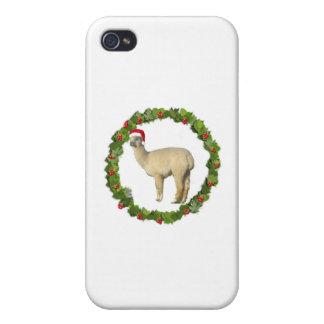 White Alpaca Christmas Wreath iPhone 4 Covers