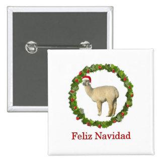 White Alpaca Feliz Navidad Wreath Pinback Buttons