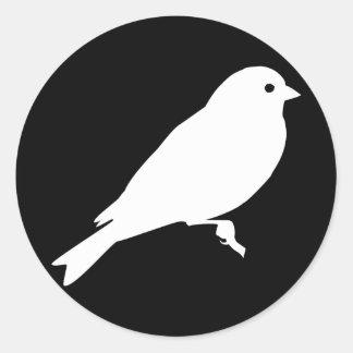 White American Goldfinch Silhouette Classic Round Sticker
