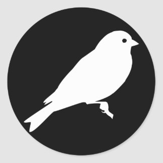 White American Goldfinch Silhouette Round Sticker