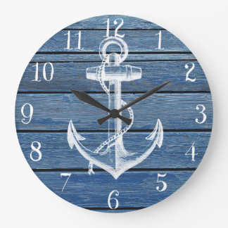 White Anchor And Vintage Blue Wood Clocks