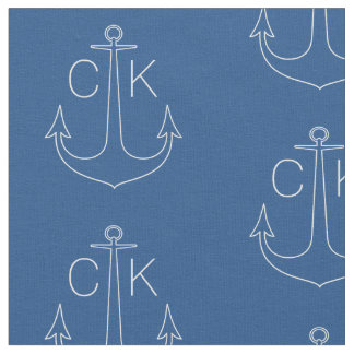 White anchor monogram blue fabric