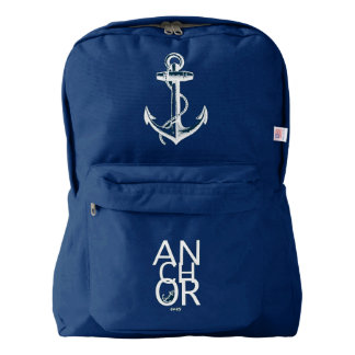 White Anchor Navy Blue Backpack