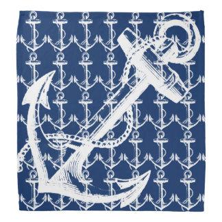 White Anchor Navy Blue Head Kerchiefs