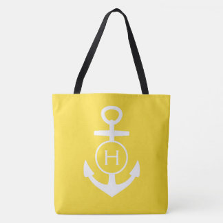 White Anchor on Banana Yellow Monogram Tote Bag