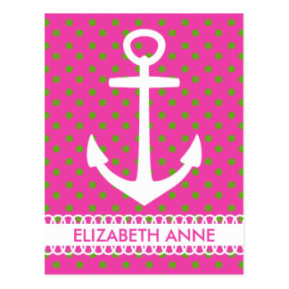 White Anchor on Pink and Green Polka Dot Postcard