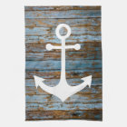 white anchor on wood kitchen towel