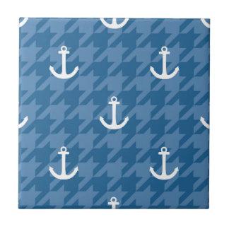 White Anchor Pattern Ceramic Tile