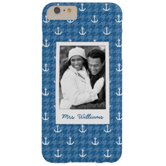 White Anchor Pattern | Your Photo & Name Barely There iPhone 6 Plus Case