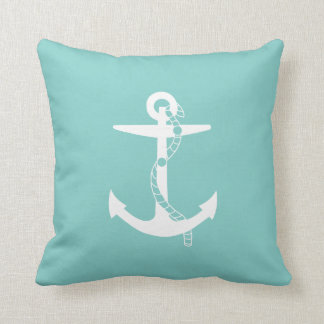 White Anchor with rope   Marine Teal Blue Throw Pillow