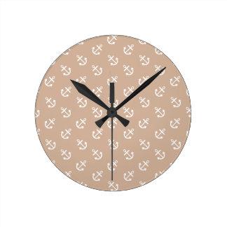 White Anchors Almond Background Pattern Round Clock