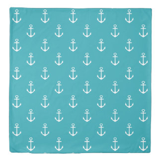 White Anchors and Stripes on Ocean Blue Reversible Duvet Cover