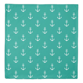 White Anchors and Stripes on Turquoise Waters Duvet Cover