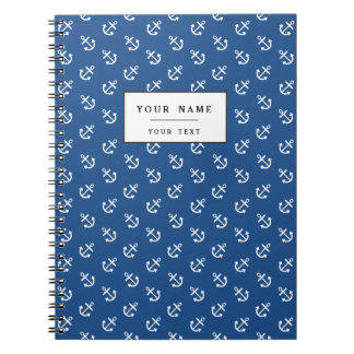 White Anchors Classic Blue Background Pattern Notebook