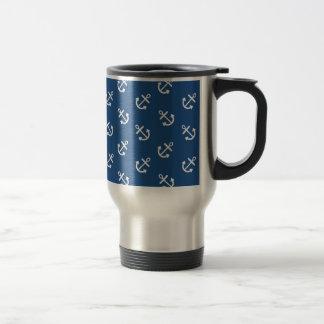 White Anchors Classic Blue Background Pattern Travel Mug