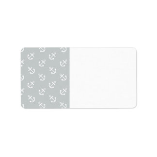 White Anchors Glacier Gray Background Pattern Label