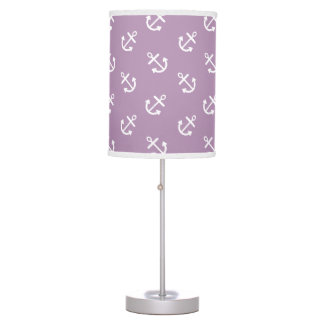 White Anchors Lavender Background Pattern Table Lamp