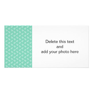 White Anchors Lucite Green Background Pattern Customized Photo Card
