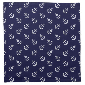 White Anchors Navy Blue Background Pattern Napkin