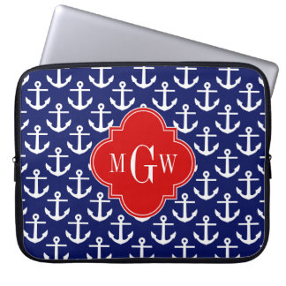 White Anchors Navy Blue, Red 3 Initial Monogram Laptop Sleeve