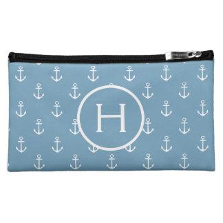 White Anchors on Carolina Blue Monogram Cosmetic Bag