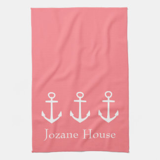 White Anchors on Coral Pink Personalized Kitchen Towel
