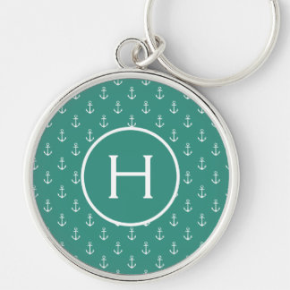 White Anchors on Gypsy Teal Monogram Keychain