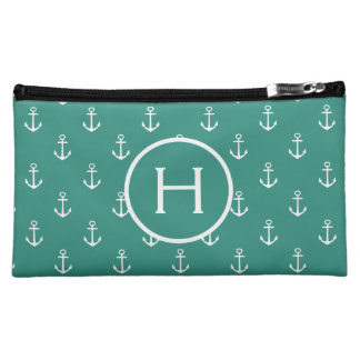 White Anchors on Gypsy Teal Monogram Makeup Bag