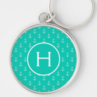 White Anchors on Island Sea Monogram Keychain