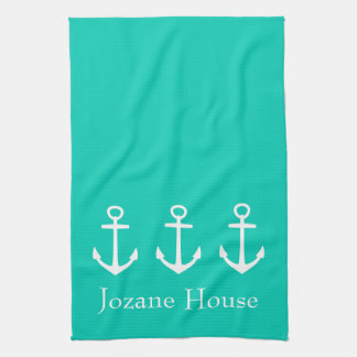 White Anchors on Island Sea Personalized Hand Towel