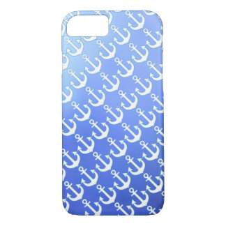 white anchors on soft blue iPhone 7 case