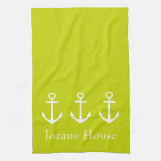 White Anchors on Tropical Lime Green Personalized Towel