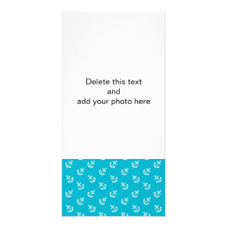 White Anchors Scuba Blue Background Pattern Custom Photo Card