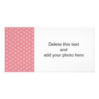White Anchors Strawberry Background Pattern Personalized Photo Card