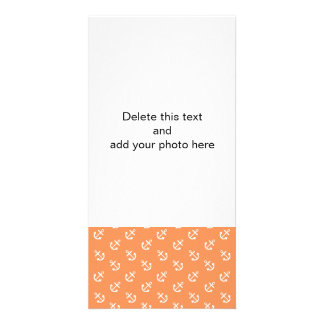White Anchors Tangerine Background Pattern Custom Photo Card