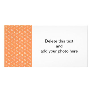 White Anchors Tangerine Background Pattern Photo Greeting Card
