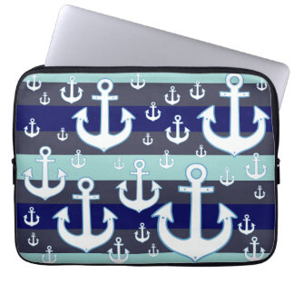 white anchors with blue stripes nautical laptop computer sleeve