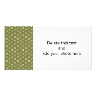 White Anchors Woodbine Green Pattern Customized Photo Card