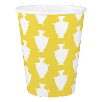 White Ancient Greek Vases Jars Pattern Paper Cup