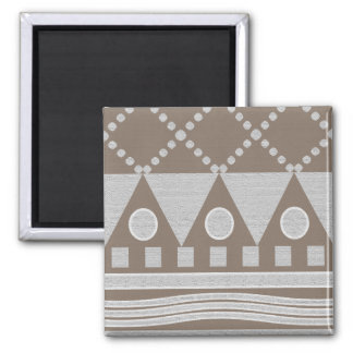 White And Beige Modern Abstract Pattern Square Magnet