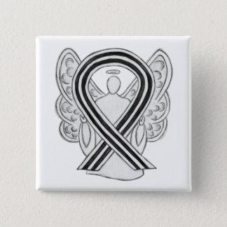 White and Black Angel Awareness Ribbon Custom Pin