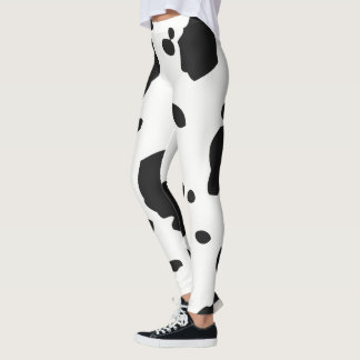 White and black animal cow spots leggings