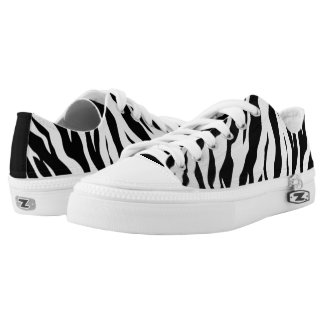 white And Black Animal Tigers Stripes Low-Top Sneakers