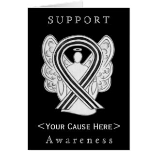 White and Black Awareness Ribbon Angel Custom Card