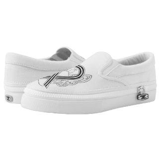 White and Black Awareness Ribbon Angel Custom Shoe