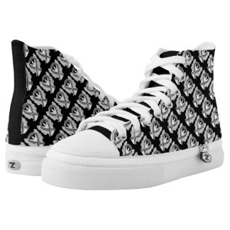 White and Black Awareness Ribbon Angel High Tops