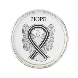 White and Black Awareness Ribbon Angel Lapel Pin